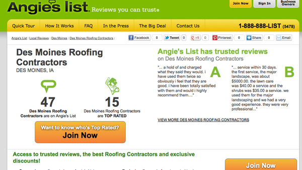 "As of June 15, 2012, Bakeris Roofing has an ""A"" rating on Angie's List."